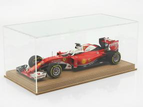 High-quality showcase with baseplate out of leather for model cars in scale  beige