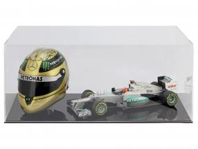 High quality showcase for 1 helmet in scale  and 1 Modelcar in scale 1:18 black