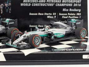 2-Car Set Mercedes AMG Petronas F1 Team Constructors world champion F1 2016 1:43 Minichamps