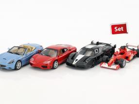 Ferrari 4-Car Set: Ferrari 360 Modena, California, FXX, F2002 each in Blister 1:43 Altaya