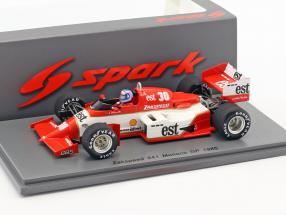 Jonathan Palmer Zakspeed 841 #30 Monaco GP Formel 1 1985 1:43 Spark