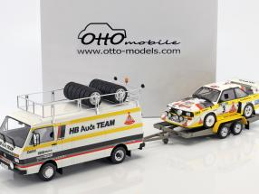 3-Car Set Rallye Portugal 1986: VW LT45 + Audi Quattro S1 Gr. B #3 + Trailer 1:18 OttOmobile