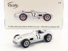 Stirling Moss Mercedes-Benz W196 #12 Winner British GP formula 1 1955 1:18 iScale