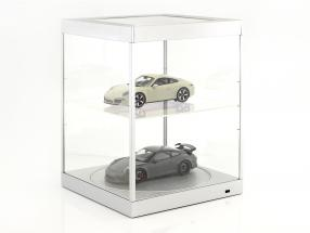 single showcase and Rotary table for modelcars in scale  silver