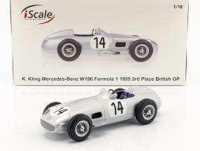 Karl Kling Mercedes-Benz W196 #14 3rd British GP formula 1 1955 1:18 iScale