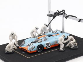 Pit stop mechanic set with 6 characters and equipment white