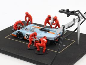 Pit Stop Mechaniker Set mit 6 Figuren und Zubehör rot 1:43 Ixo