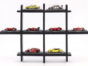 High quality wooden shelf for model cars and miniatures dark brown