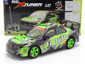 X-Tuner R / C Drift Car with Pylons green / black / gray 1:14 NewRay
