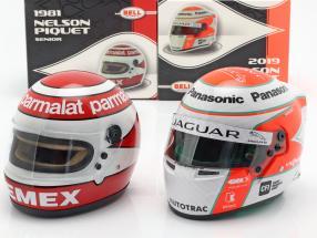 2-Helme Set Nelson Piquet sr. 1981 & Nelson Piquet jr. 2019 1:2 Bell