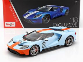 Ford GT Gulf #9 Baujahr 2017 hellblau / orange 1:18 Maisto