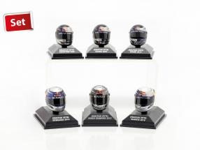 6er Set Sebastian Vettel Red Bull Helm Collection 2009-2010 1:8 Minichamps