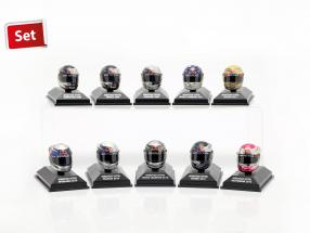 10er Set Sebastian Vettel Red Bull Helm Collection 2009-2012 1:8 Minichamps