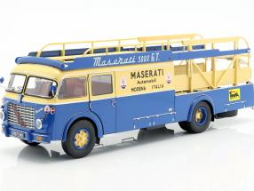 Fiat 642 RN2 Bartoletti Maserati Race Car Transporter 1957 blue / yellow 1:18 CMR