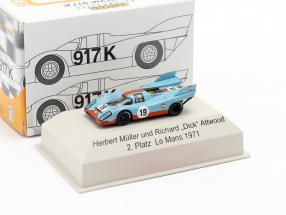 Porsche 917K Gulf #19 2nd 24h LeMans 1971 Attwood, Redman 1:87 Brekina