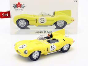 Set: Jaguar D-Type #5 4th 24h LeMans 1956 with driver figure 1:18 CMR