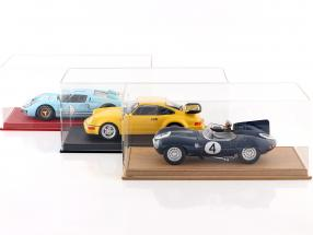 High-quality showcase with baseplate out of leather for model cars in scale  black