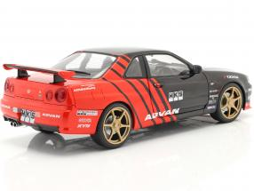 Nissan Skyline GT-R (R34) Advan Drift year 1999 black / red