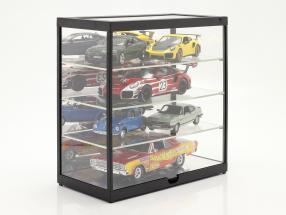 Single showcase with LED lighting and mirror for  / 1:24 black