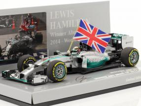 L. Hamilton Mercedes F1 W05 Hybrid #44 World Champion Abu Dhabi GP F1 2014 With flag 1:43 Minichamps