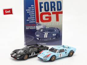 24h LeMans 1966 Collector's Set: Book with Ford GT40 #1 #2 1:18 Shelby Collectibles