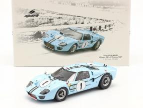 Ford GT40 MK2B #1 Sieger 12h Reims 1967 Ligier, Schlesser 1:18 Spark