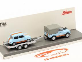 3-Car Set British Racing: Land Rover 88 with Trailer and Mini 1:87 Schuco