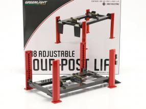 Adjustable Four-post lift red / grey