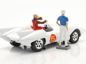 Speed Racer Mach 5 with figures TV animation series (1966-68) White
