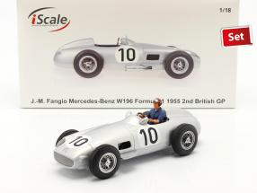 Set: J. M. Fangio Mercedes-Benz W196 #10 formula 1 1955 with driver figure blue shirt