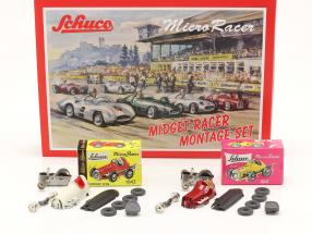 2-Car Micro Racer Assembly set Midget #8 & #3 1:45 Schuco