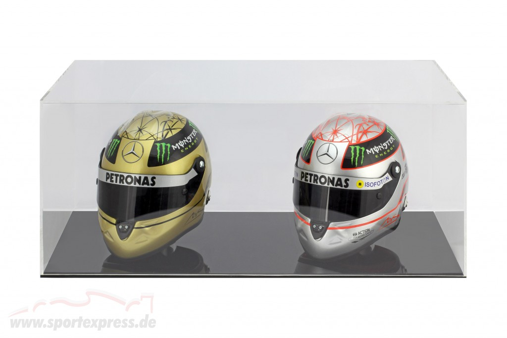 High quality showcase for 2 helmets in scale  black
