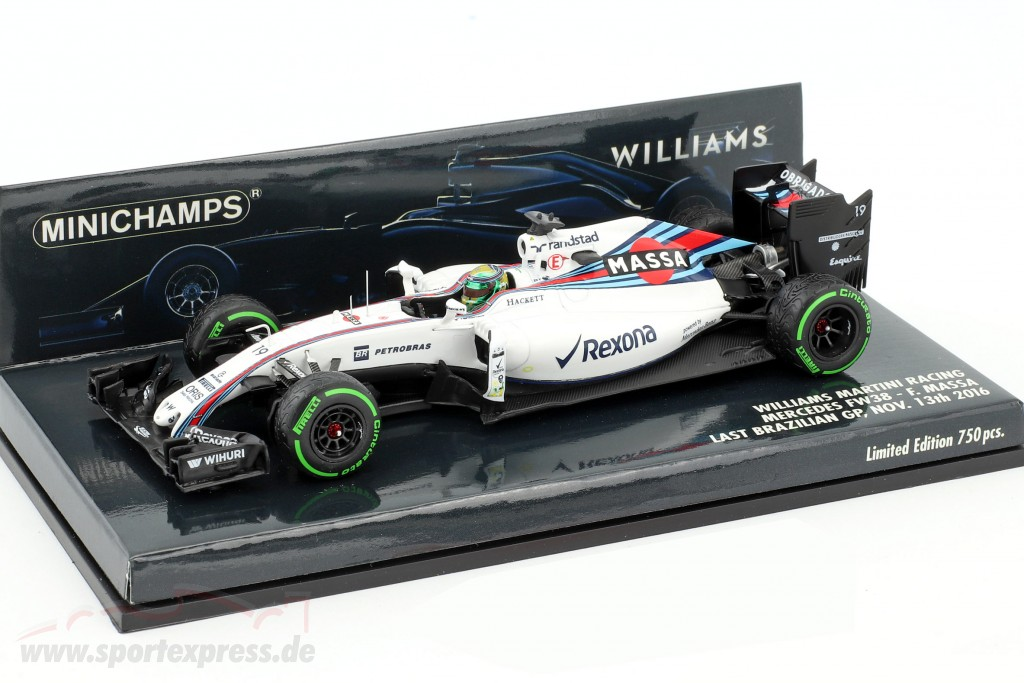 FINAL BRAZ Minichamps 1:43 WILLIAMS MARTINI RACING MERCEDES FW38  FELIPE MASSA