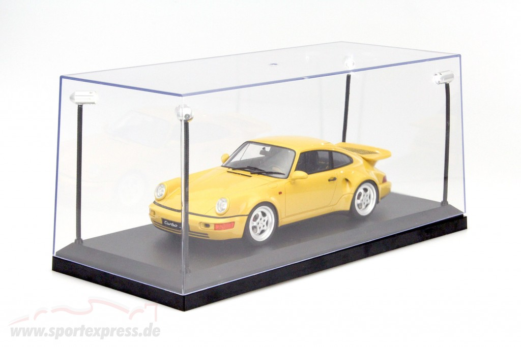 Single showcase with 4 mobile LED lamps for model cars in scale