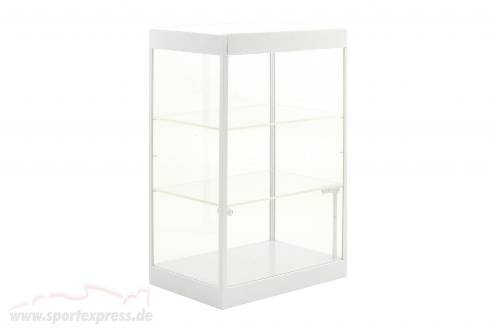 Single cabinet with 2 mobile Led Lamps for model cars in the scale ,1:24,1:43 White