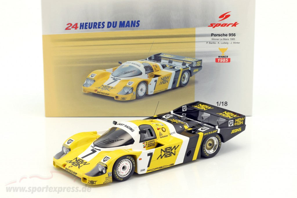 1//18 Spark PORSCHE 956 NEW MAN WINNER LE MANS 1985 #7 Winter//Ludwig//Barilla