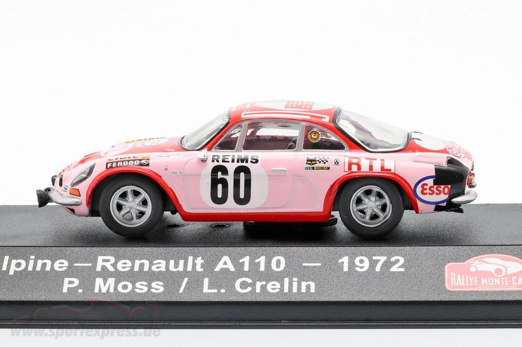 Alpine-Renault A110 1600 #60 Rallye Monte Carlo 1972 Moss-Carlsson, Crellin 1:43 Atlas
