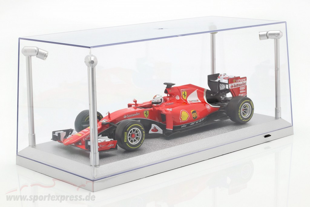 Single showcase silver with 4 Led Lamps for modelcars in scale