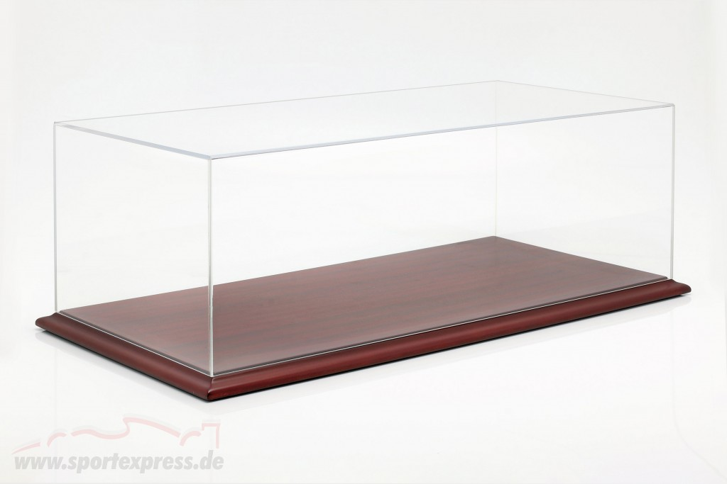 High quality acrylic Showcase Molsheim with wood base mahogany