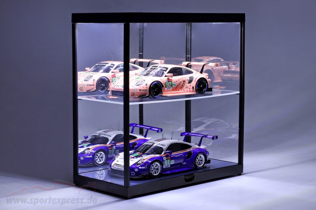 Double showcase with LED lighting for model cars in scale  black