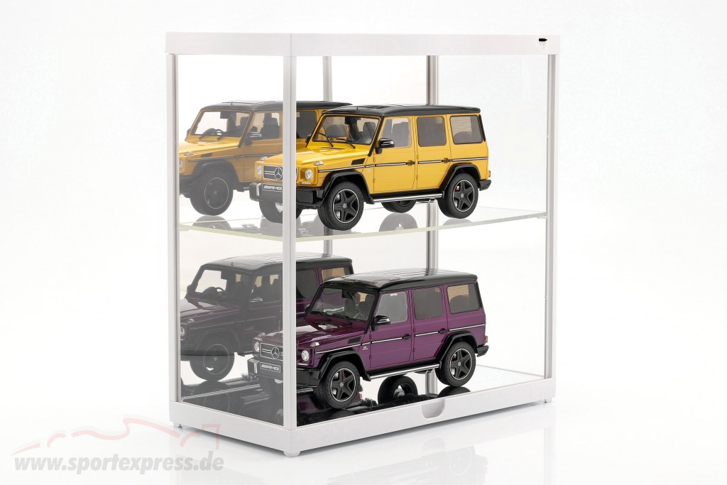 double showcase with LED lighting for model cars in scale  white
