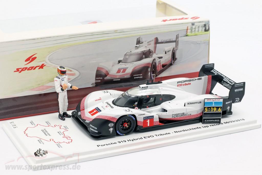 Porsche 919 Hybrid Evo with figure #1 lap record Nürburgring 2018 T. Bernhard