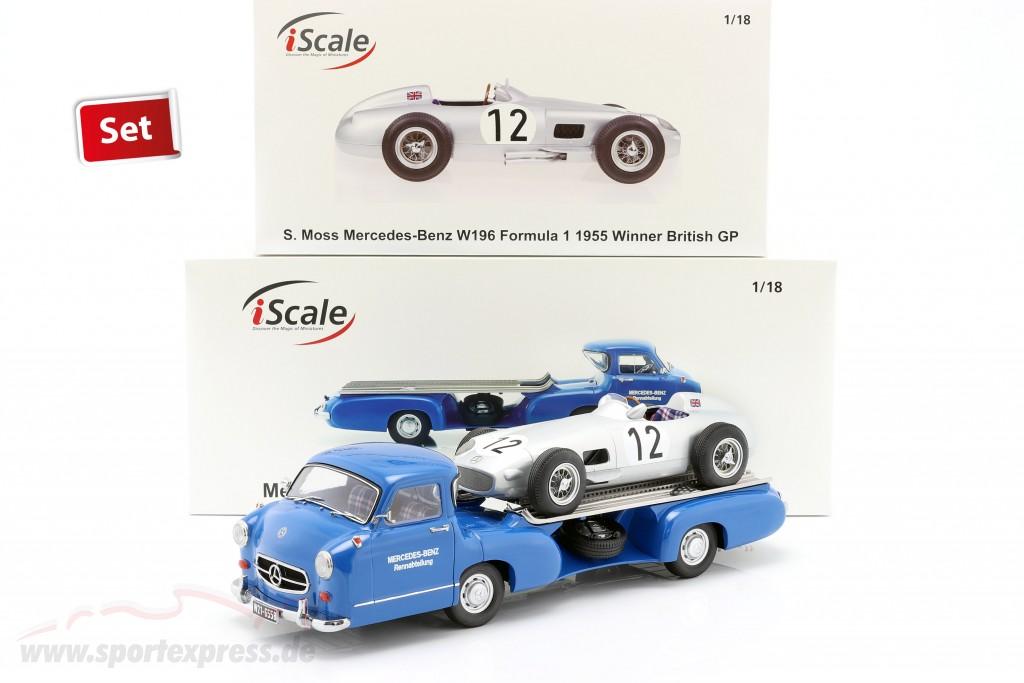 Set: Mercedes-Benz Race Car Transporter Blue Wonder With Mercedes-Benz W196 #12
