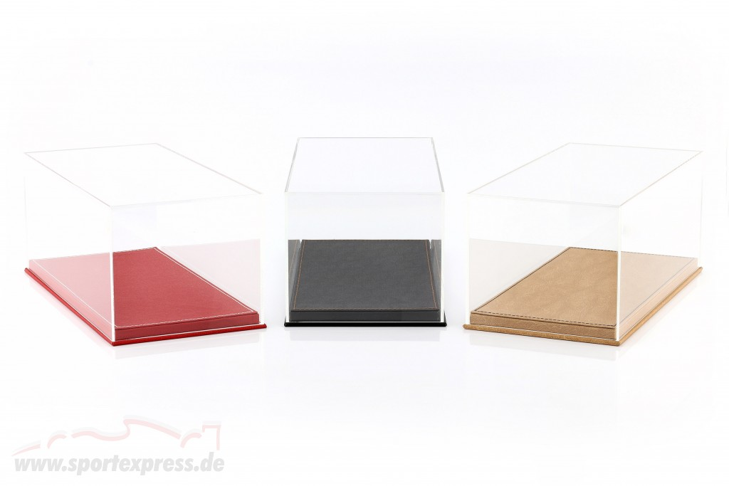 High-quality showcase with baseplate out of leather for model cars in scale  red