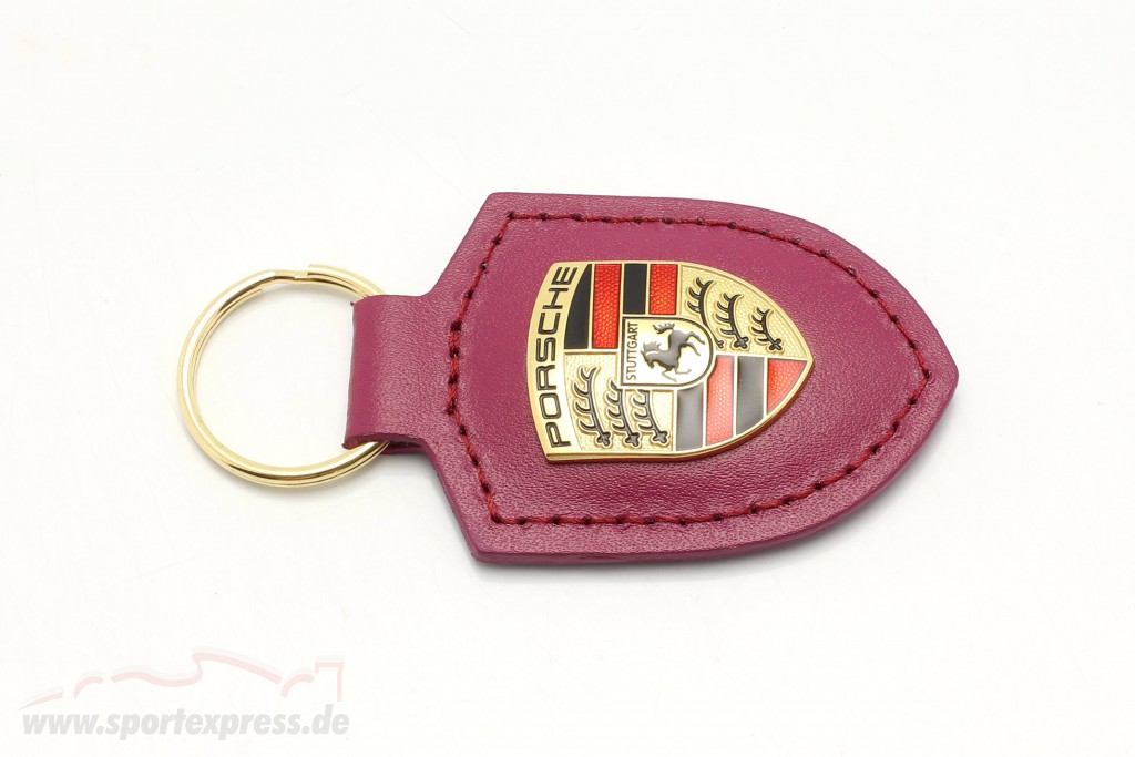 Leather keychain Porsche badge rubystar
