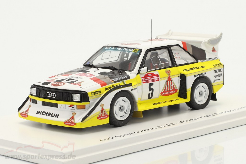 Audi Quattro Sport E2 #5 winner Rallye SanRemo 1985 Röhrl, Geistdörfer