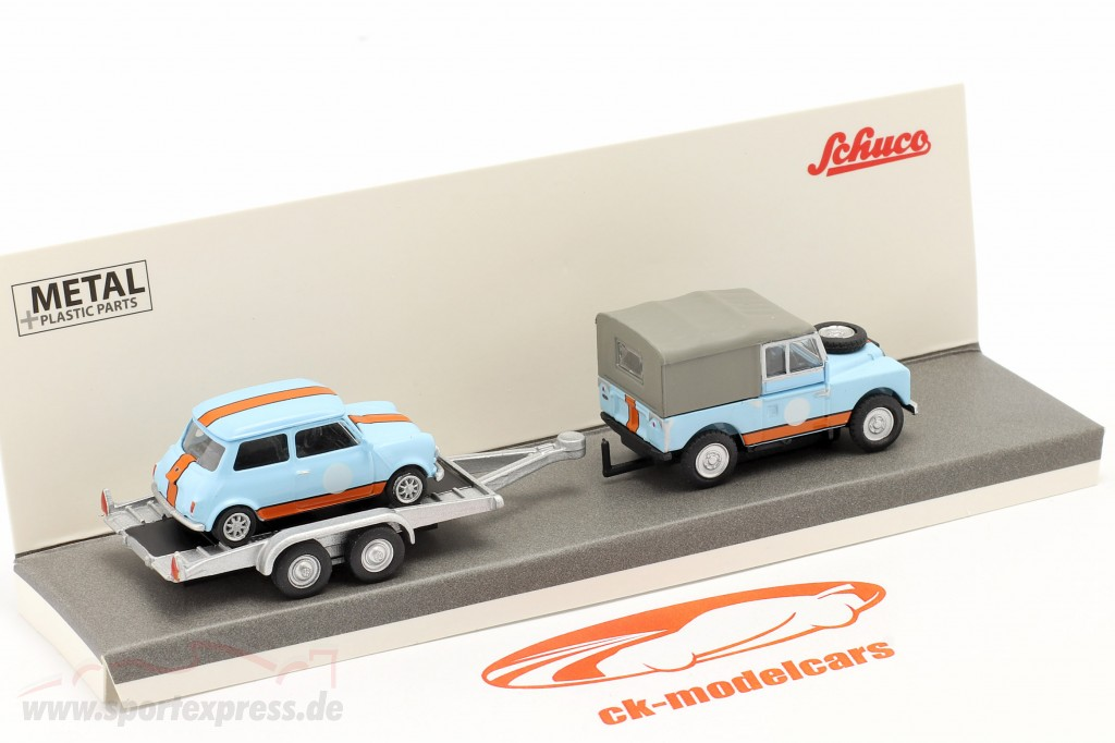 3-Car Set British Racing: Land Rover 88 with Trailer and Mini