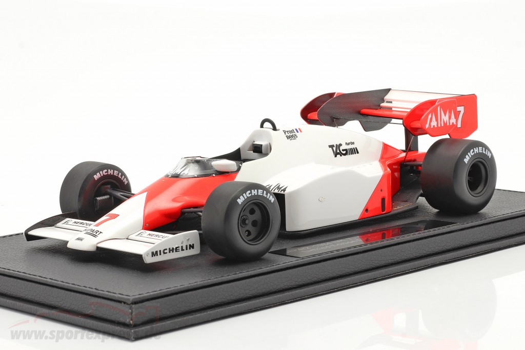Alain Prost McLaren MP4/2 #7 formula 1 1984  with showcase