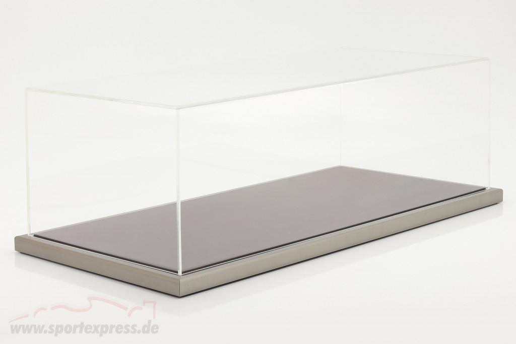 High quality acrylic showcase Goodwood with wood / metal base mahogany / silver