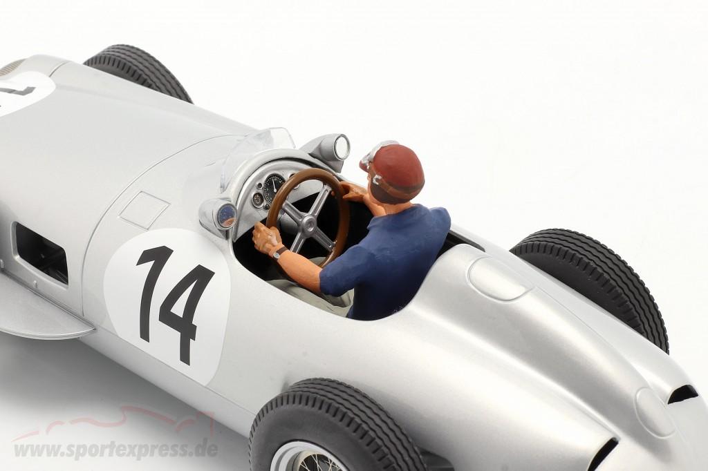 Set: K. Kling Mercedes-Benz W196 #14 formula 1 1955 with driver figure blue shirt